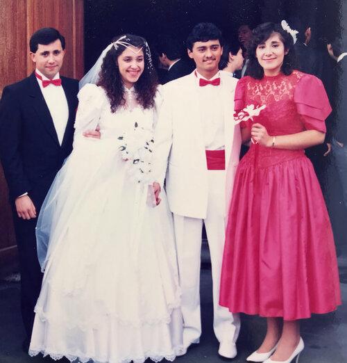 Cecilia's wedding day on 30 July 1988. From left to right: Edgardo Fuentes (RIP), Cecilia and Antonio, Sandra Smith
