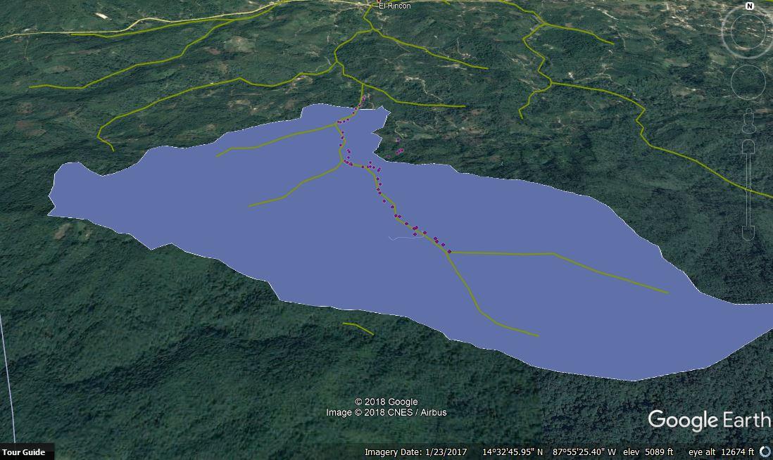 La Cuenca de  El Rincón, 3 de Septiembre, y Villa Alicia  con la ultima toma de agua abajo, la quebrada es el area amarillo y el area de cobertura de la cuenca en morado