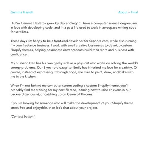 About Page | Gemma Haylett