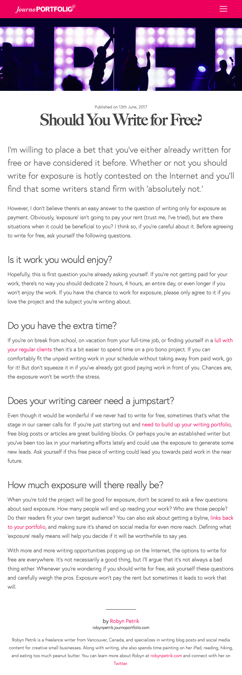 Should You Write for Free?