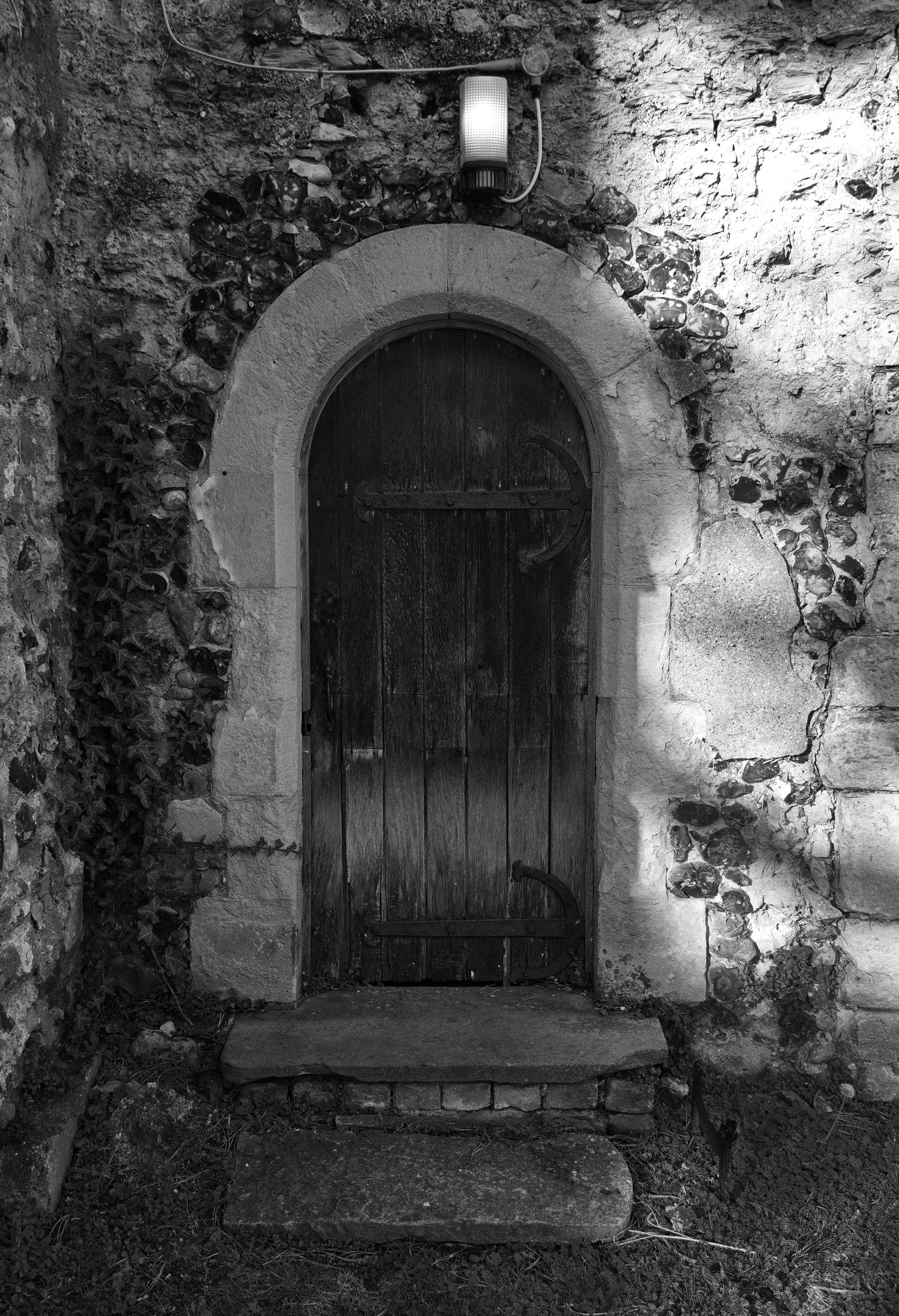 South door, stair-turret