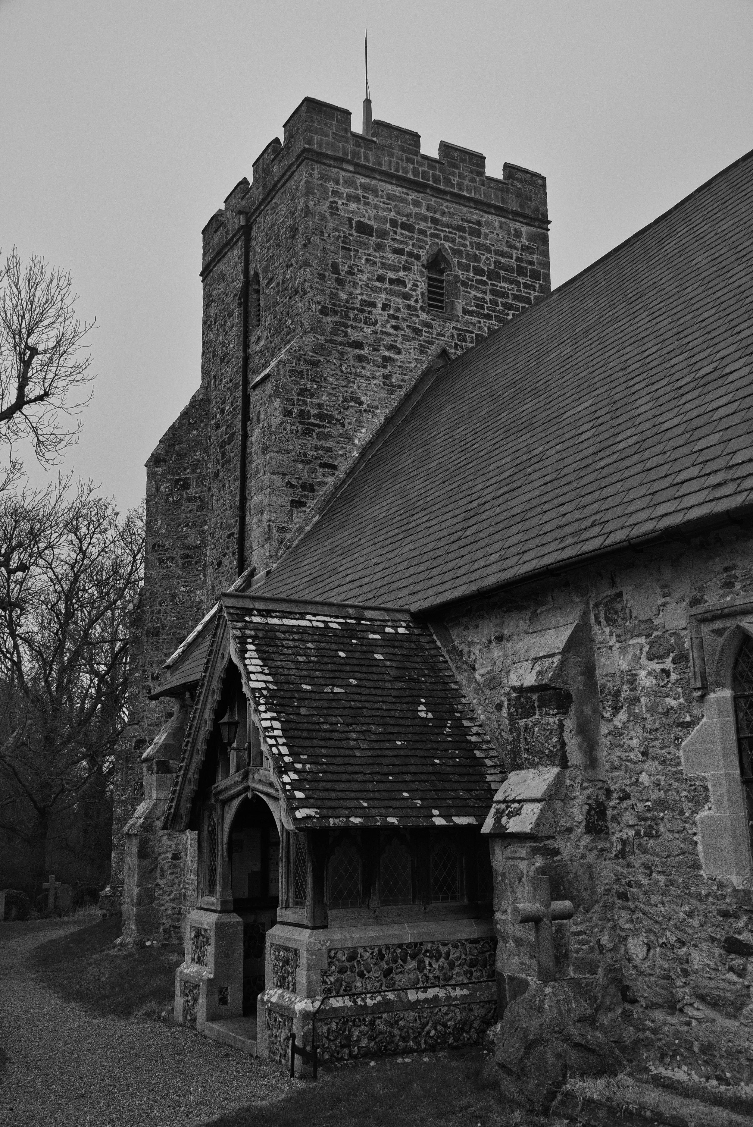 Tower and porch, south