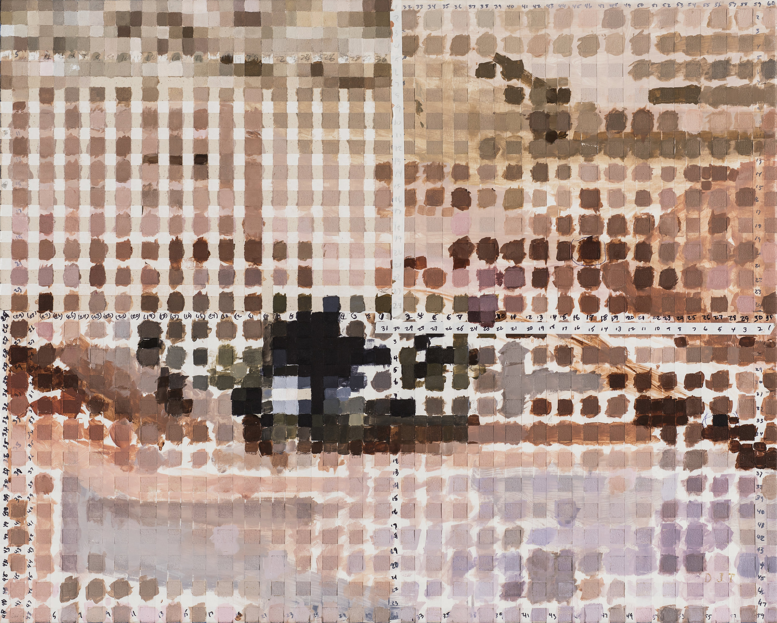 "Kathy Varadi, Self Poor Trait, 2017, Acrylic and tape on canvas, 24"" x 30"" on exhibit"