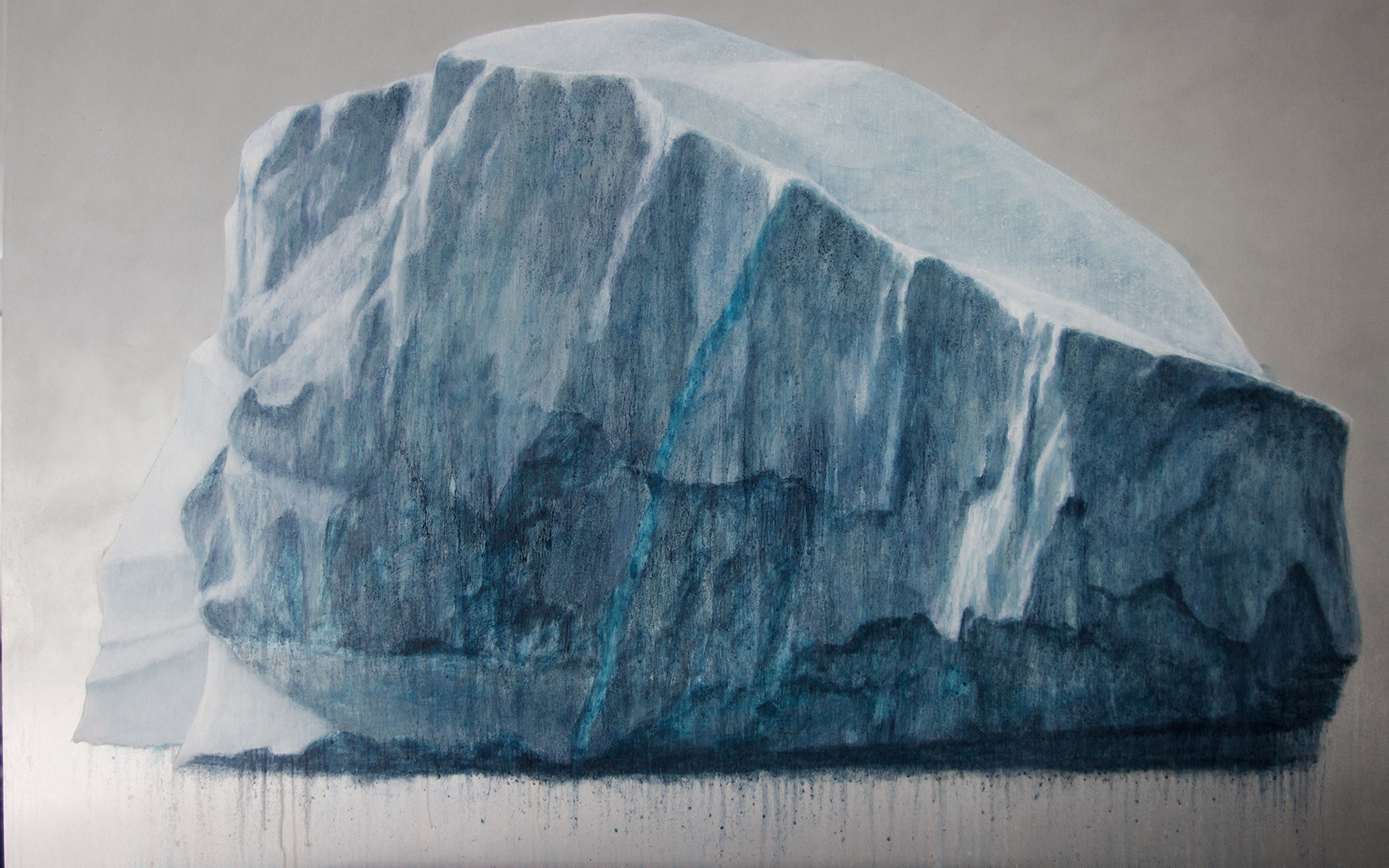 """Melting Iceberg"", Lisa Lebofsky, 2015, Oil on Aluminum, 25 x 40 inches."