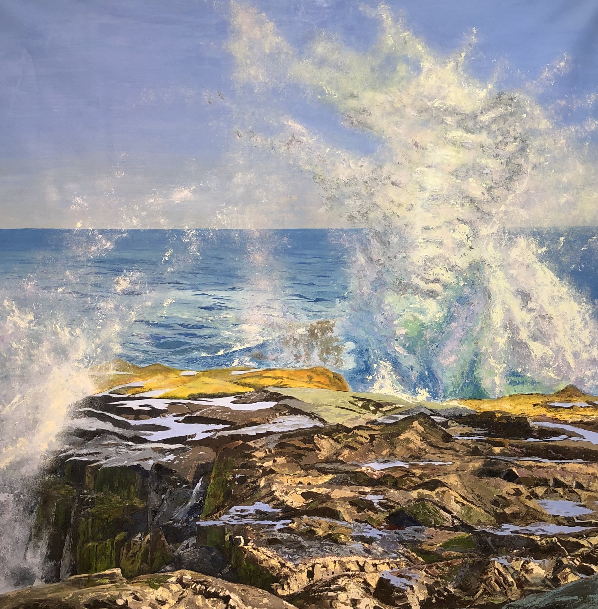 """Waves of Schoodic"", Kathy Varadi, 2019, Oil on canvas, 52 x 52 inches."