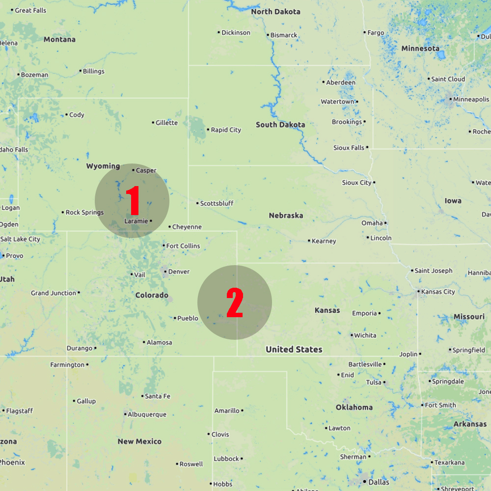 14 May - Wyoming (team 1), Colorado & Kansas (team 2) - Start:Fort Collins, CO (T1)Childress, TX (T2)End: Jackson Hole, WY (T1) Garden City, KS (T2)Distance covered: T1:450 miles (724 km) T2: 702 miles (1129 km)Team 1 intercepted a strong storm near Laramie, Wyoming with hail upto 2 cm. Team 2 chased a supercell from just east of Denver during 3-4 hours into western Kansas.