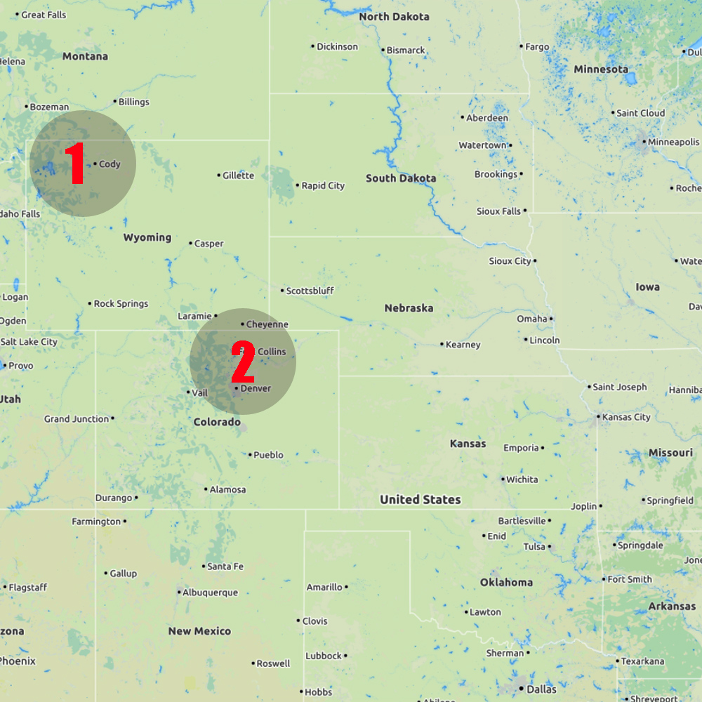16 May - Wyoming (Team 1), Colorado (Team 2) - Start:Jackson Hole, WY (T1) Tucumcari, NM (T2)End: Cody, WY (T1) Fort Collins, CO (T2)Distance covered: T1: 180 miles (290 km) T2: 460 miles (740 km)No chasing at all today for both teams. Team 1 enjoyed another day in Yellowstone National Park. Team 2 drove up to Colorado to be in position for next day chase events.
