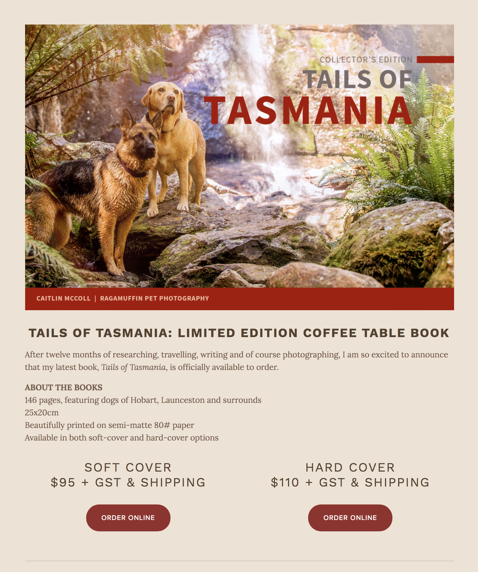 Tails of Tasmania is officially released - Caitlin's latest coffee table book is complete and available to order[Grab yours here:http://au.blurb.com/b/8742066-tails-of-tasmania-hardcover]