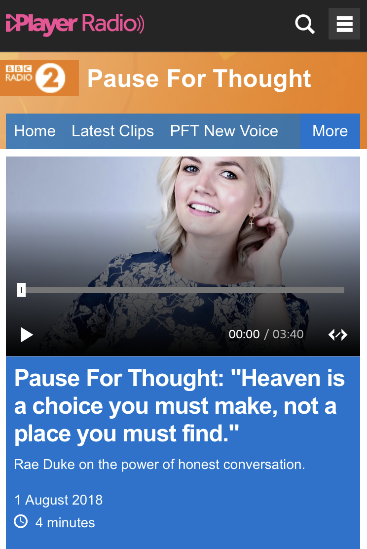 Rae Duke discusses Mind-full Supper and the importance of open conversation on BBC Radio 2's 'Pause For Thought'.