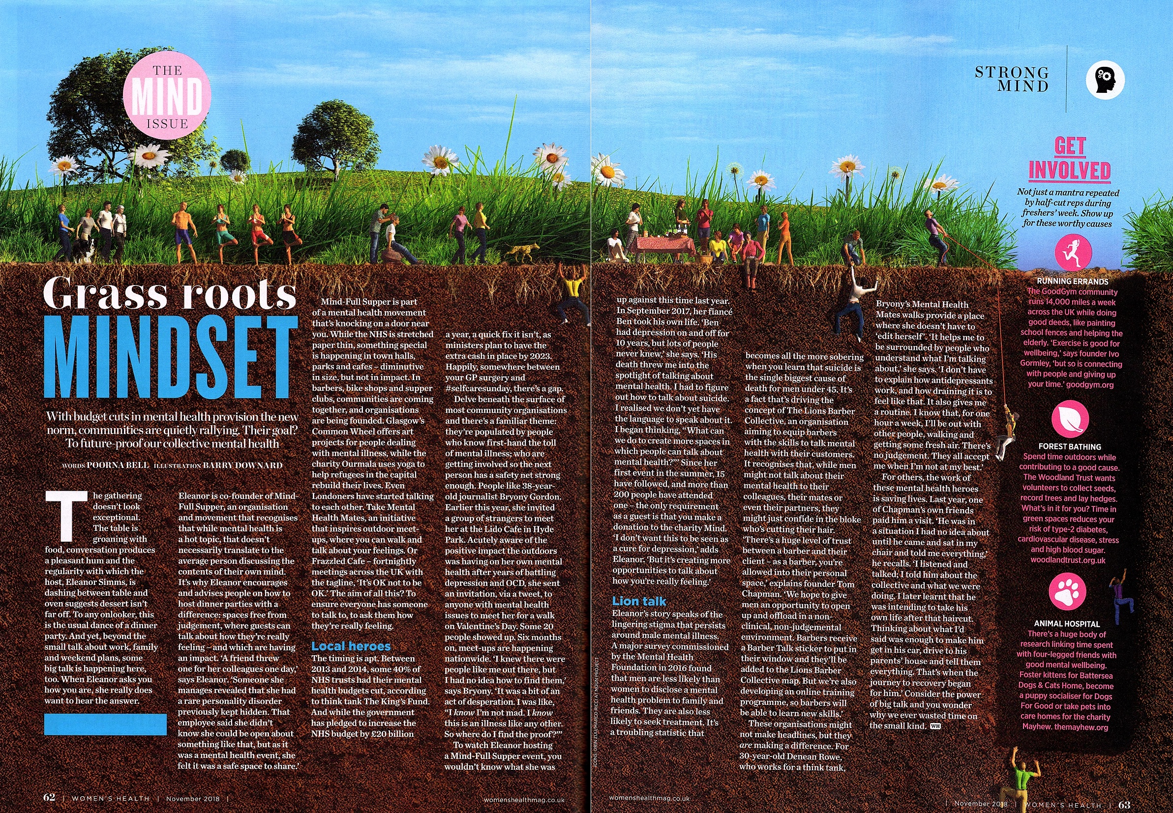 In the November 2018 issue of Women's Health UK, journalist Poorna Bell interviewed our co-founder, Eleanor Simms, on the importance of grass roots initiatives that tackle mental health.