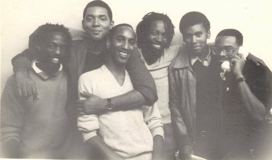 L to R: Essex Hemphill, Assotto Saint, Craig G Harris, Ray Melrose, Daniel Garrett, Colin Robinson • Photo by Joseph Beam (October 1985) - Image Appears in   Evidence of Being: The Black Gay Cultural Renaissance and the Politics of Violence   Courtesy of the Joseph Beam Estate