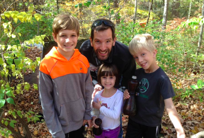 Ray with three of our kids, when we went hiking and scavenging through an old dump on a friend's property (surprisingly fun!). This photo was taken a few weeks before his heart attack.