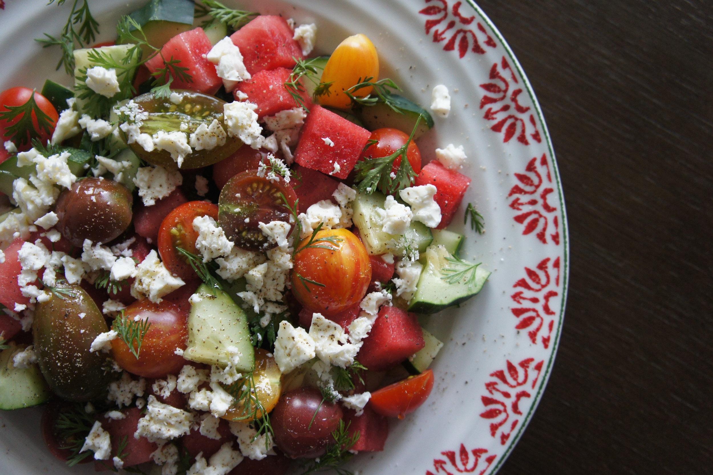 Marinated Feta & Watermelon Salad -