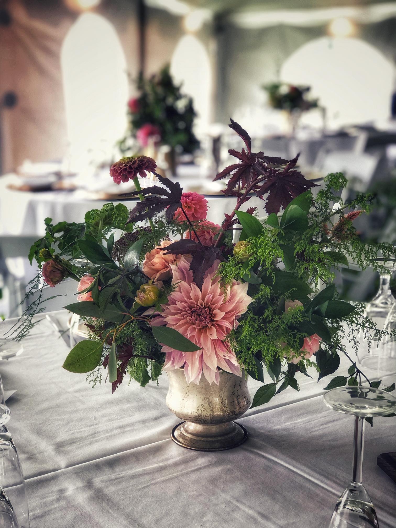 Dahlia and zinnia centerpiece