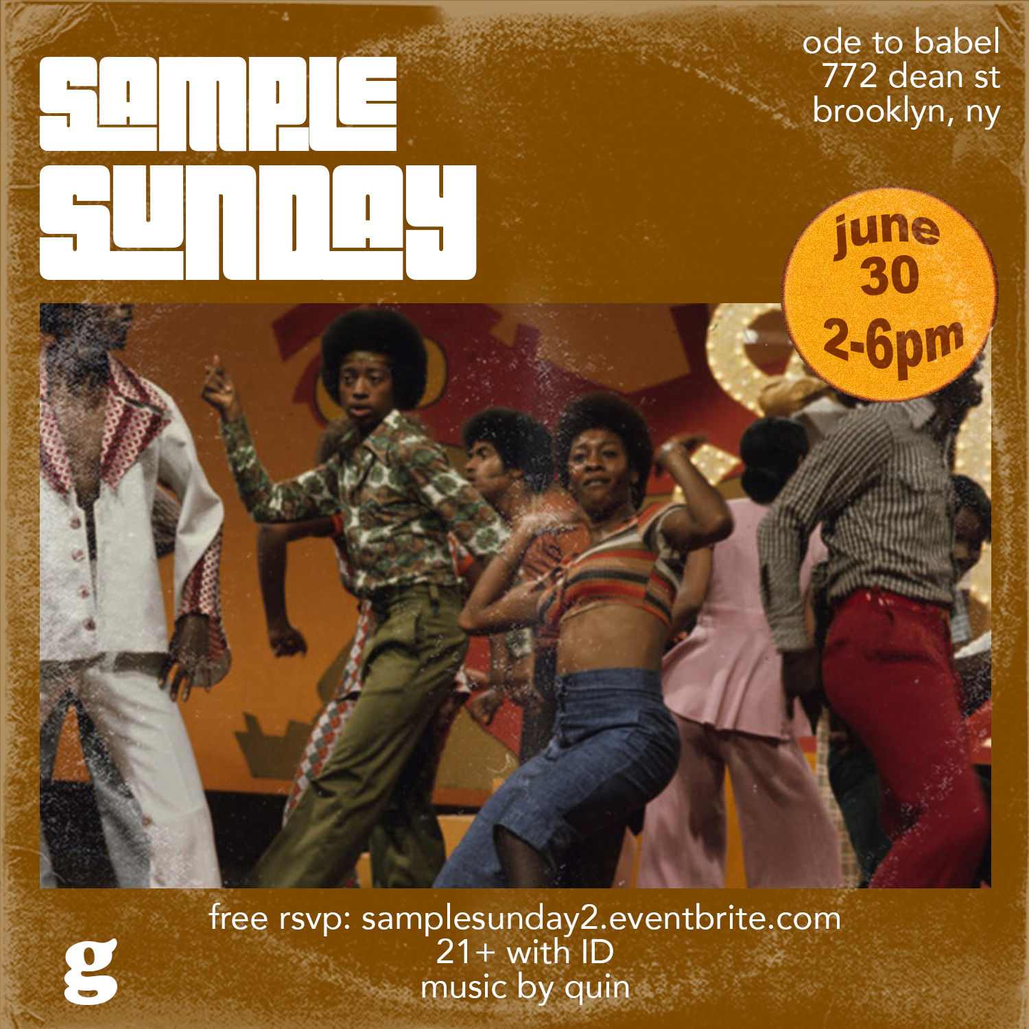 Sample Sunday 2 - The #SampleSunday party is back for the summer!All Hip-Hop and R&B songs. All of their samples. All day.Event starts at 2pm, and it's FREE!Hosted by The Gumbo.Music by quin.21+