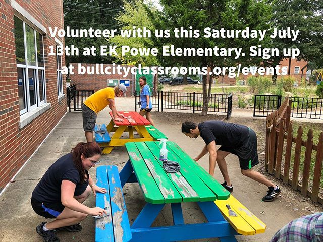 This Saturday we will be helping out @ekpowe Elementary. If you have a couple of hours we would love for you to volunteer with us as we help teachers prepare for the upcoming school year. We will have coffee & donuts donated by Duke's Physician Asistant Program. Sign up today with the link in the bio.  #bullcityclassrooms #ekpoweelementary #durhamnc #bullcity #durhampublicschools #volunteer #teachers #community #summerschool #schoolbreak