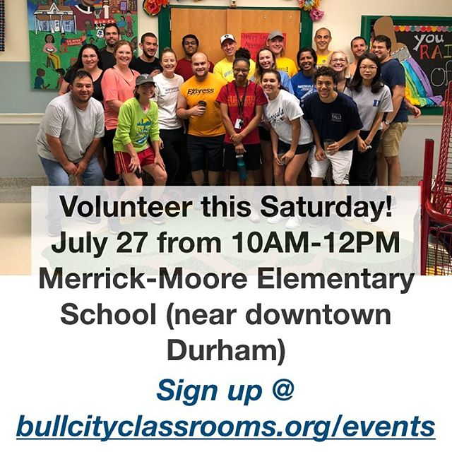 Merrick-Moore Elementary School is gearing up for the upcoming school year and could use our help! Essentially, there are 20 closets throughout the school that need attention. Things have gotten stored away haphazardly and forgotten, so their treasurer did an audit and made a new organizational plan to use the closets more effectively.  Volunteers will clear out, sort, organize, and move items for multiple closets located throughout the building. Closets vary in size, so some will require more volunteers and time than others.  Stations will be set up on multiple hallways for sorting items. The school will supply bins, labels, and other necessary materials needed for organizing items.  Merrick-Moore (demographic information: https://projects.propublica.org/miseducation/school/370126000543) could use as many volunteers as possible, so if you can, please sign up today with the link in the bio! #bullcityclassrooms #durhampublicschools #volunteer #durham #bullcityHELPS