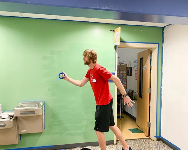 We may not be professional painters but Rob knows the importance of painter's blue tape. Interested in helping out Durham's local classrooms just like Rob? Join us this Saturday September 7th as we help out EK Powe Elementary from 9:45am – 12:00pm. Click on the link in our bio to sign up and we'll see you Saturday morning.  #bullcityclassrooms #durhamnc #bullcity #durm #school #elementary #ekpoweelementary #durhampublicschools #volunteer #supportlocalschools #teachers #helpingteachers