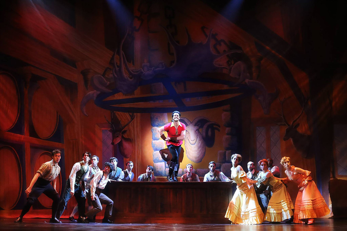 Pictured: Peter Saide (Gaston) and the cast of Disney's BEAUTY AND THE BEAST.  Photo by Curtis Brown Photography.