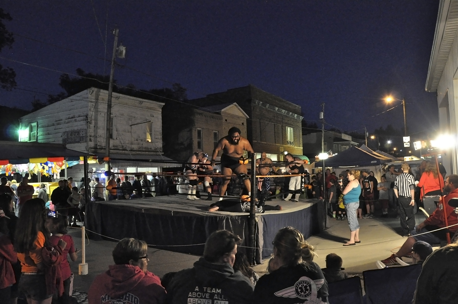 Dennis Savage . May 23, 2014. Tag Team wrestling during the Moonshine Festival, Perry County, Ohio.