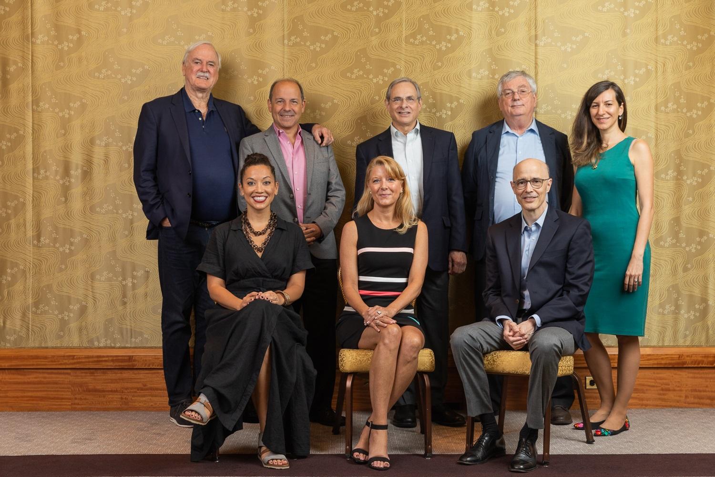 Mind Beyond Brain speakers and UVA Division of Perceptual Studies Faculty (from top left):  Advisory Board members John Cleese and Pat Belisle, Bruce Greyson, M.D., Edward F. Kelly, Ph.D., Marieta Pehlivanova, Ph.D, Jim B. Tucker, M.D., and J. Kim Penberthy, Ph.D., ABPP, and Kirsten Doyle, event host and Owner of Serenade