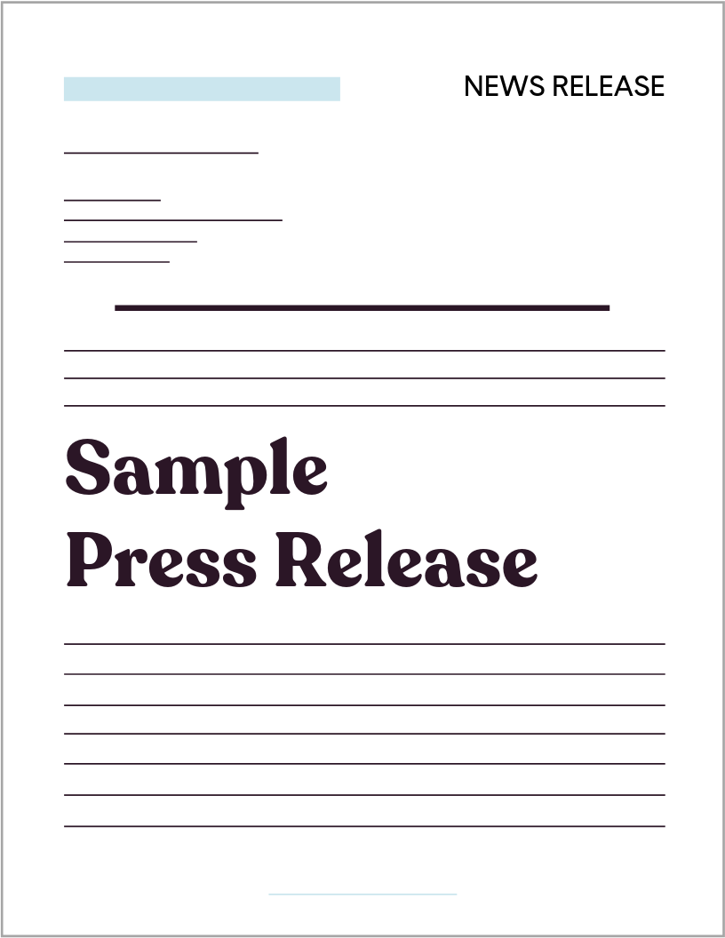 Sample Press Release Template  MARCH 2019