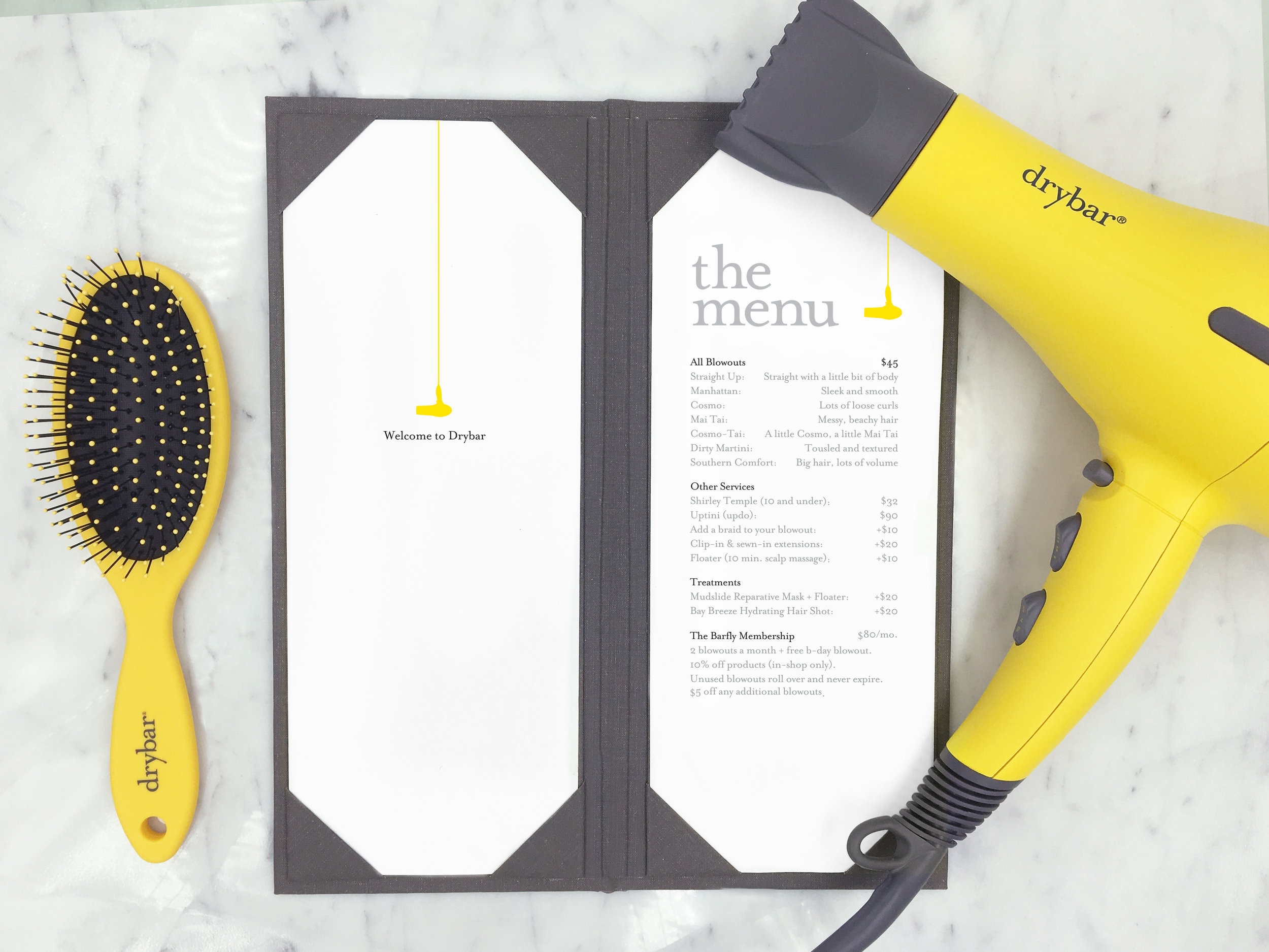Appointments can be booked online at  www.thedrybar.com , through the Drybar iPhone app, or by calling  877-379-2279 .