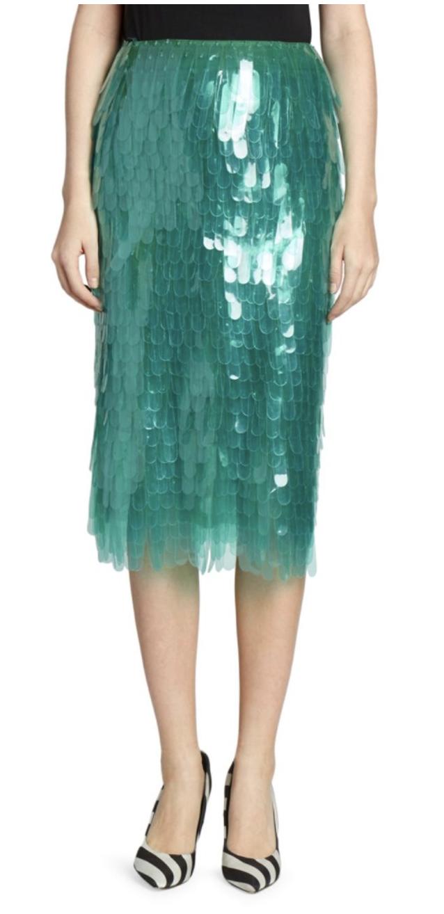 Dries Van Noten Paillette Pencil Skirt.
