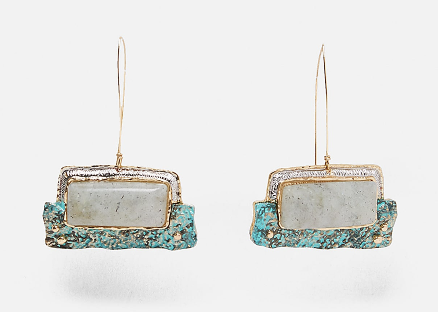 Metallic Zara drop earrings with rectangular stones.
