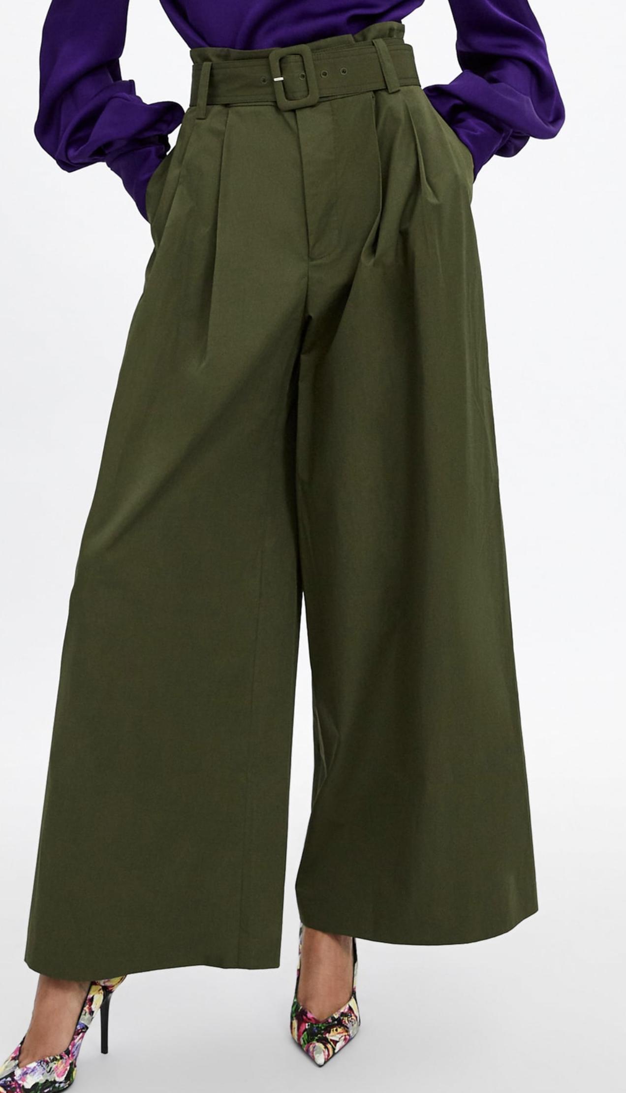 Zara High-waisted wide leg pants with self-belt.