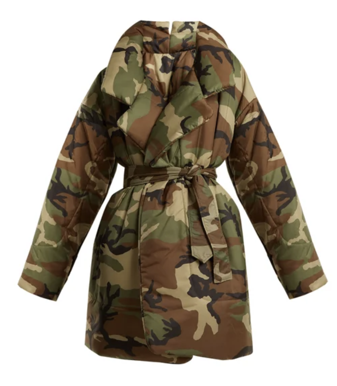 Norma Kamali  Camo-print sleep bag knee length coat.