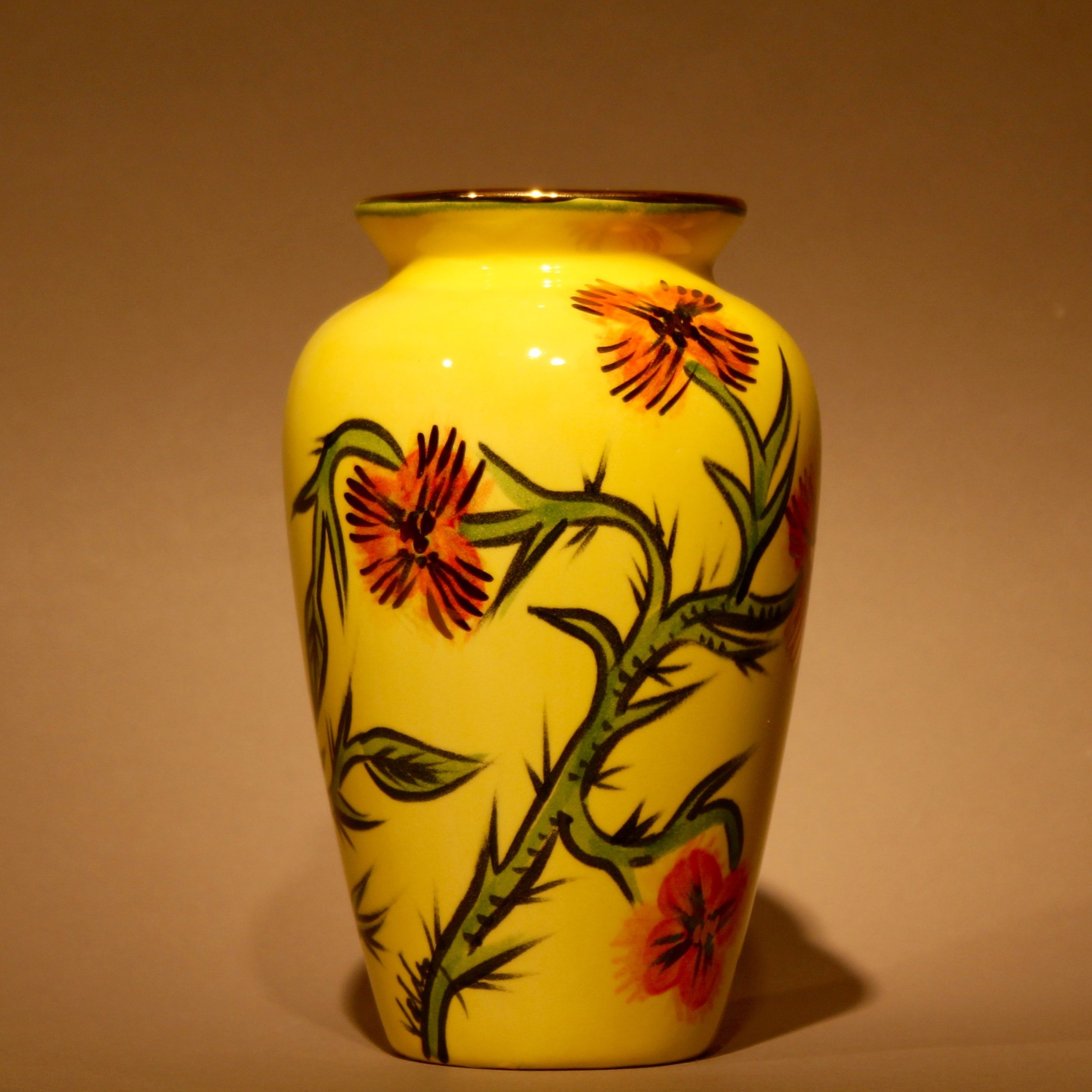 """Dimensions: 6"""" H  Year: 2010  Medium: Hand painted low fire ceramic vase  Cost: $350"""