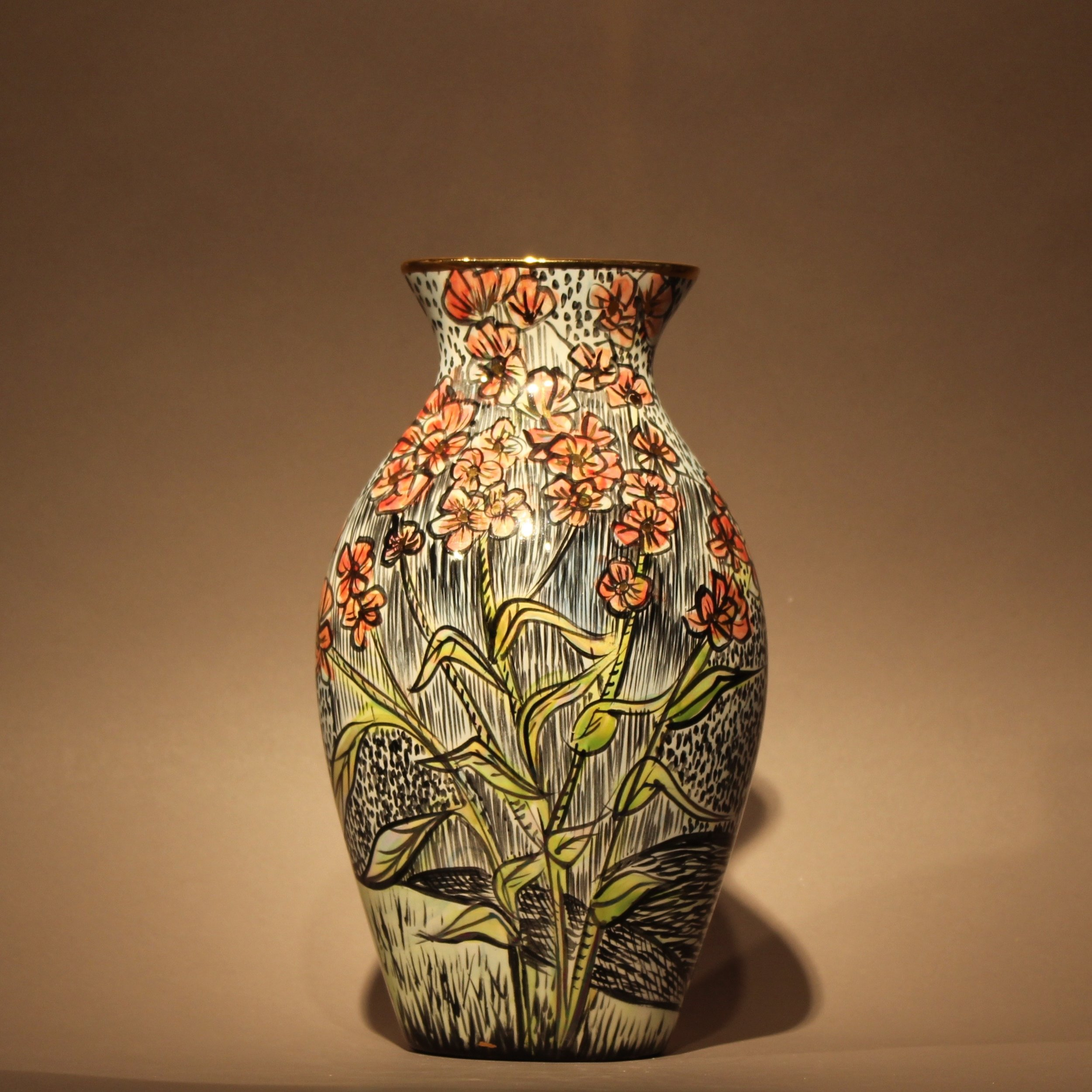 """Dimensions: 7"""" H  Year: 2013  Medium: Luster and gold overglaze on low fire ceramic vase  Cost: $950"""