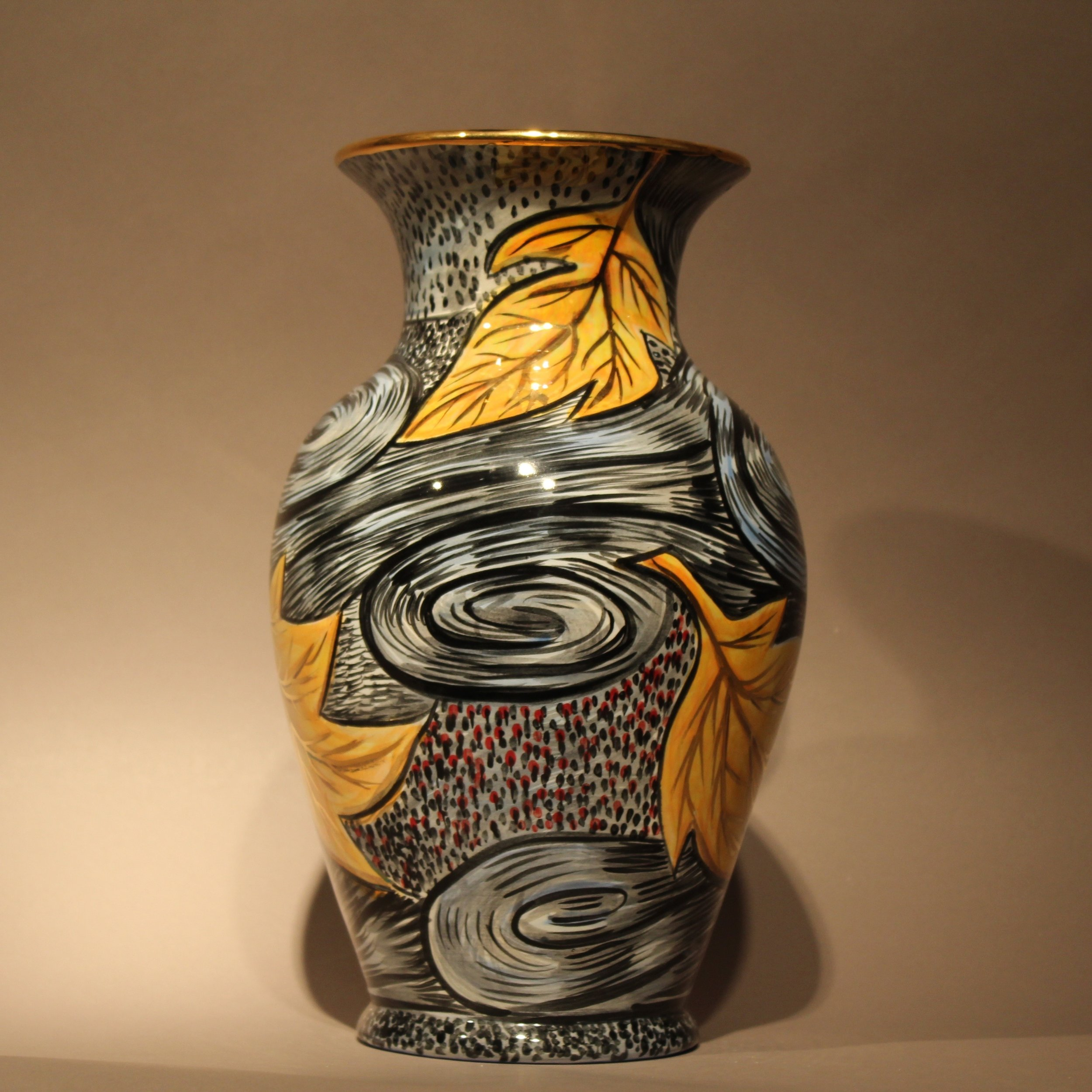 """Dimensions: 12"""" H  Year: 2013  Medium: Luster and Gold overglaze on low fire ceramic vase  Cost: $2500"""