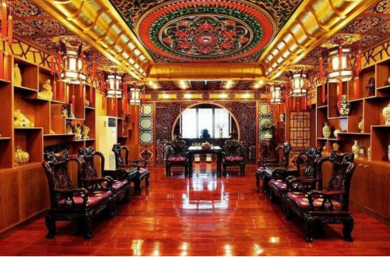 The lavish interior of the Harbin Pharmaceutical headquarters
