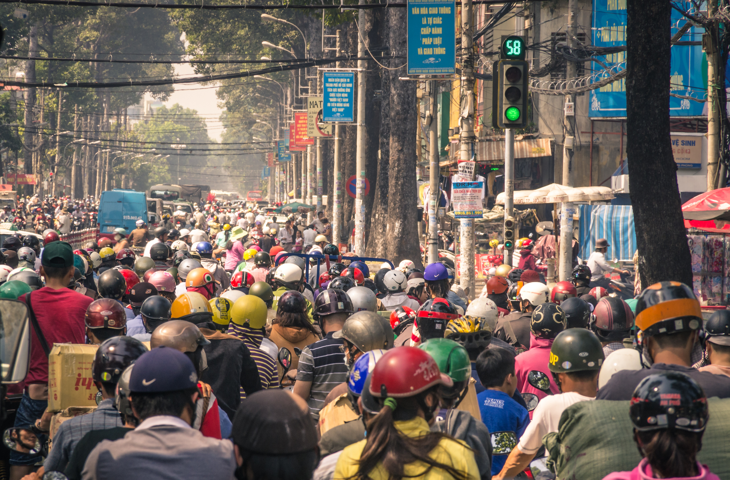 A traffic jam in Saigon, now known as Ho Chi Minh City, Vietnam.