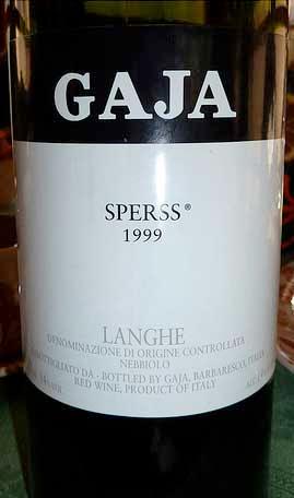 Gaja, Sperss Langhe Nebbiolo 1999