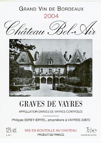 Château Bel-Air Graves de Vayres Fût de Chêne