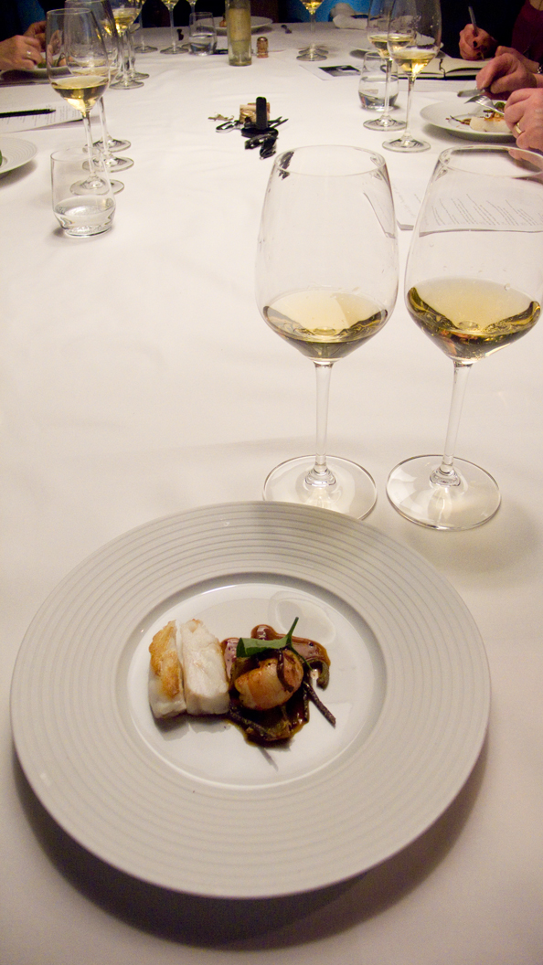 Hugel & Fils, Riesling Hugel Vendange Tardive 1983 and Joh. Jos. Prüm, Graacher Himmelreich Riesling Spätlese 2001 with pan roasted turbot with baby artichoke, langoustine, truffle