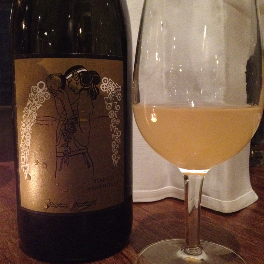 A wine that gave my brain a workout at Brawn: a glass of Cristiano Guttarolo's Bianco Amphora 2013