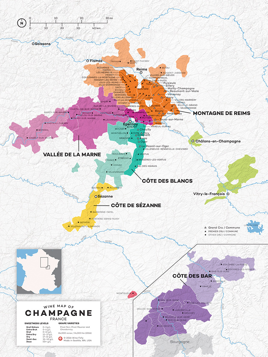 Map of the Champagne region, courtesy of  Wine Folly