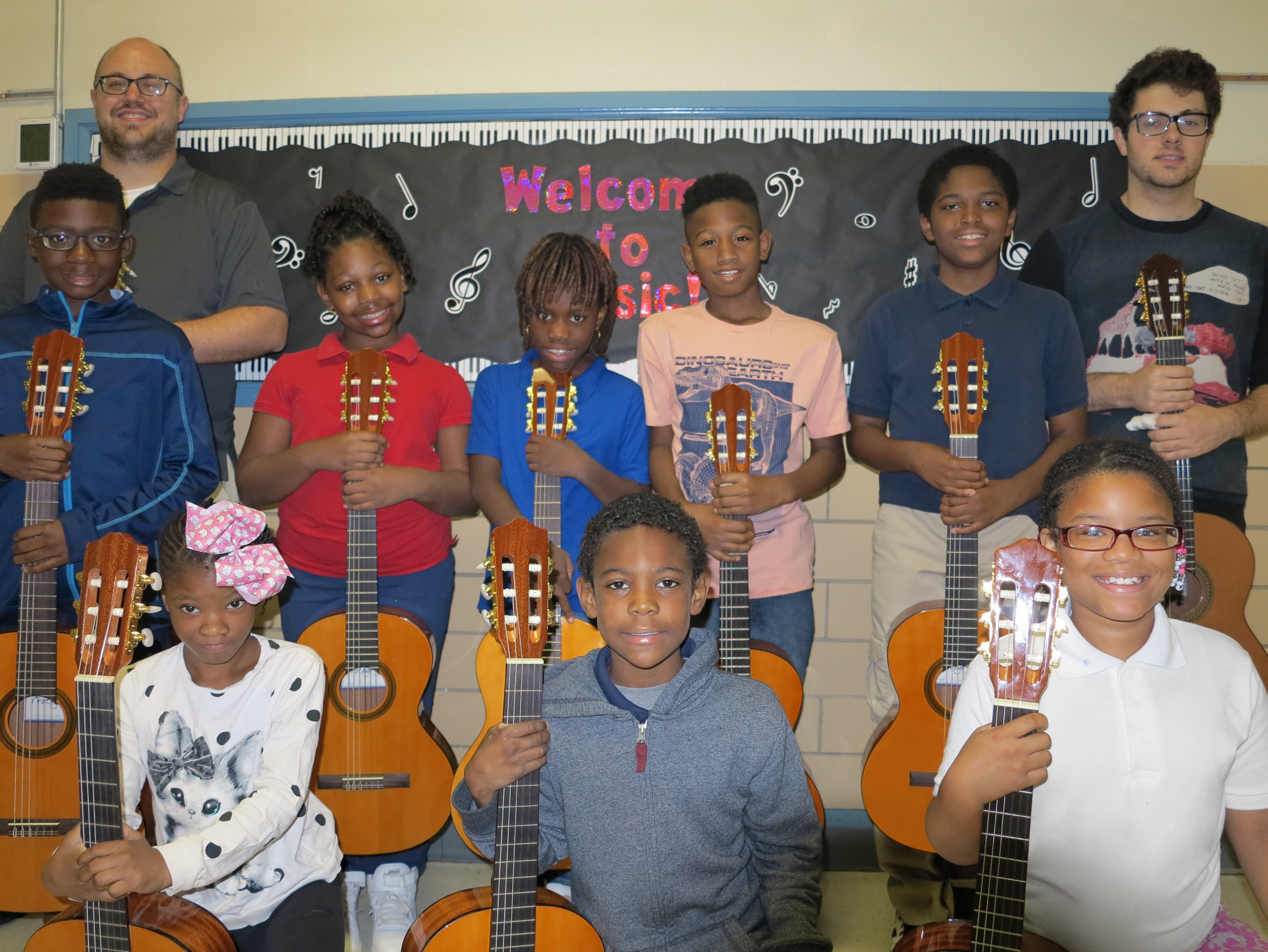 Students from Bermuda Elementary with guitars purchased through Old Newsboys Grant