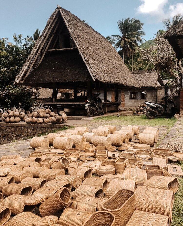 Rattan Bags Drying in the Sun