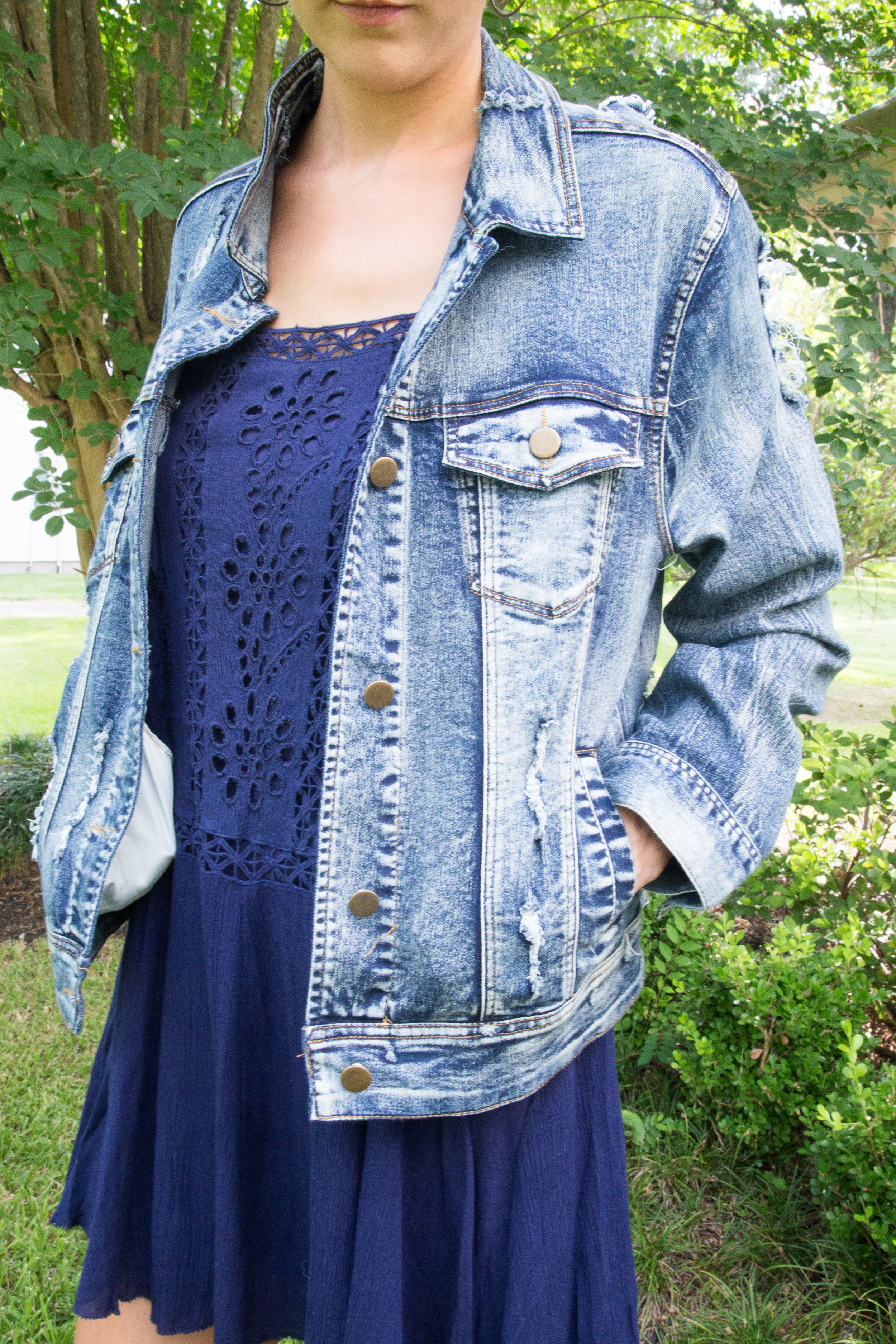 I love how a simple piece can completely change the look and feel of an outfit. This denim jacket dresses it down a little bit but at the same time it gives it a casual-chic vibe. You can see how I paired this denim jacket with a tee shirt dress  here .https://www.mintedmod.com/home-1/2018/8/11/urban-outfitters-t-shirt-dress