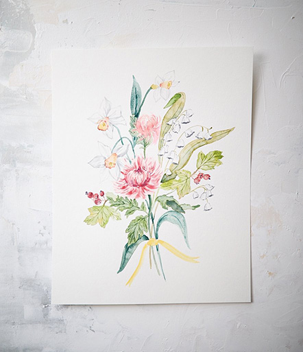 If your mom loves art, or loves flowers but hates how they die, what more beautiful and personalized could you get than giving her a watercolor painting of a bouquet of everyone's birth flowers (go ahead and include your pet(s) too!).