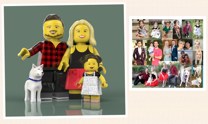 This one was such a fun gift to put together and gift to my husband. His love for legos and art runs deep, so why not combine the two?!?! I found Mr. Lego Art on Etsy. Price varies on how many subjects are going to be in the picture. Let me clarify, it is not an actual picture but a digital copy for you to do what you please with. I send him a bunch of pictures of us to get an idea and then he creates us into a 3D lego family portrait picture. When he was done he sent me the file to review and I was able to tell him any changes that I wanted made before sending me over the final file. I then took that file and had a local  metal print shop  print it onto a 2x2ft square metal to be hung by his computers. All in all, it was a pricier gift BUT how surprised he was by it and how much he loves it was so worth it. It is a piece of art after all.  (If you are concerned about the background of that image, don't be! The metal print I gave to my husband is just our portraits on a completely white background)
