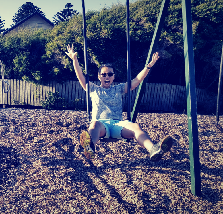 Loving the sun and the swing, obviously