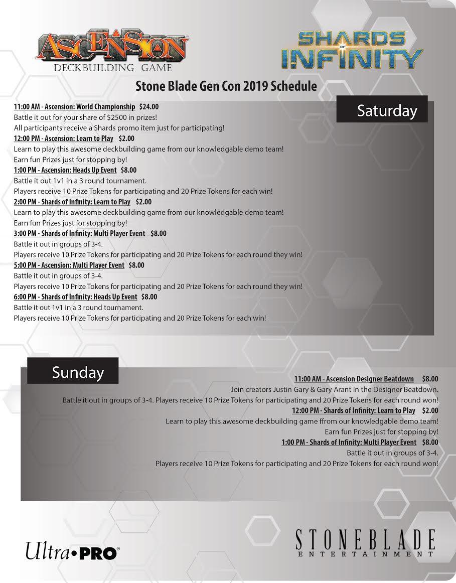 Gen Con Schedule 2