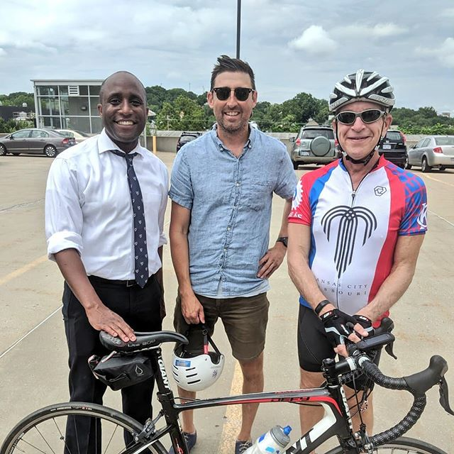Yesterday's ride with @kcfunride was awesome and I was joined by my two newest co-workers. @quinton_lucas keeping it real by biking the whole way in trousers and a tie. Councilman Dan Fowler repping #BikeKC with that sweet KCMO bike jersey. Me? I rocked the frazzled dad look.