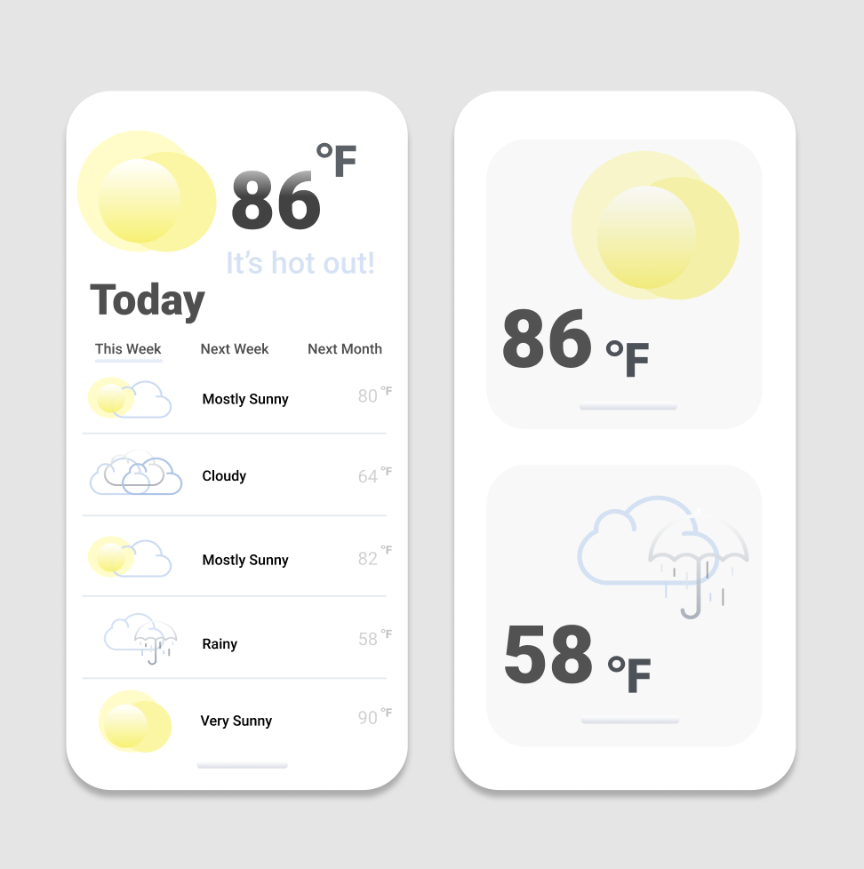 A little iOS style-inspired weather app I designed! I think weather apps are so charming and it was so fun to think of what elements are important to include and what color scheme I should use.